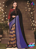 SC 12326 Blue, Black and Beige Party Wear Georgette Designer Saree