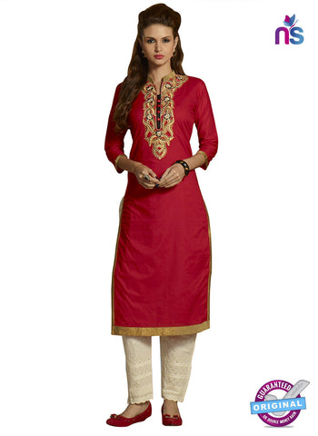 RT 15397 Red Cotton Kurti