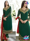 SC 13497 Green Embroiderd Georgette Designer Long Suit