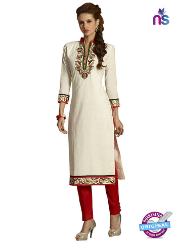 RT 15404 White Cotton Kurti