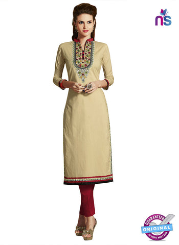 RT 15406 Beige Cotton Kurti
