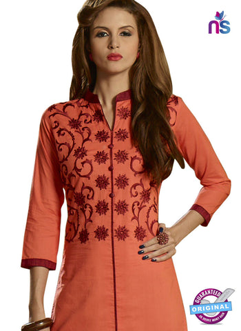 RT 15407 Peach Cotton Kurti