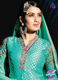 SC 13977 Sea Green Brasso Designer Function Wear Straight Suit Online