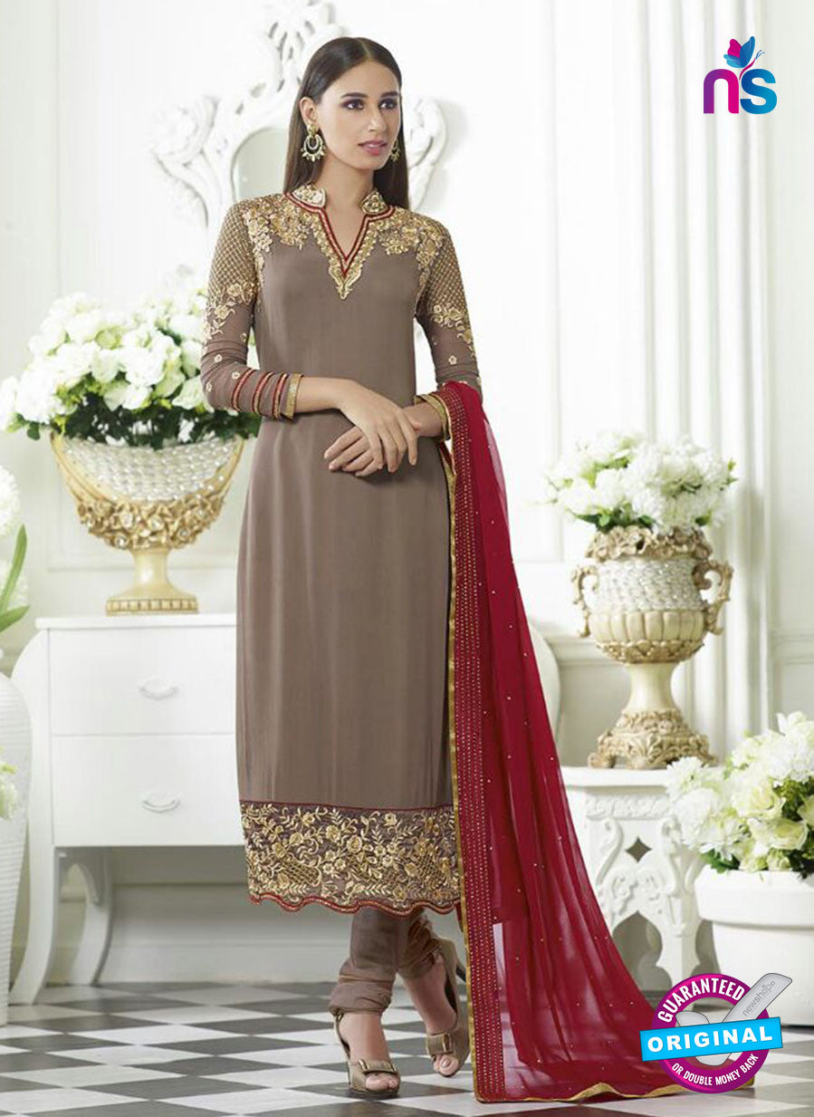 SC 13498 Brown Embroiderd Georgette Designer Long Suit
