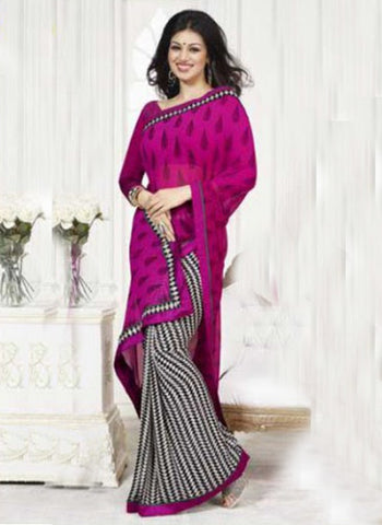 Vinay 15542 Magenta Black and White Georgette Saree