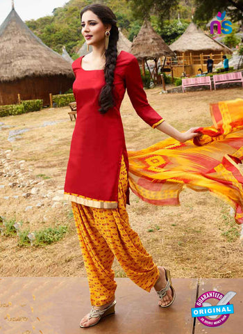 RT 15569 Red Patiala Suit