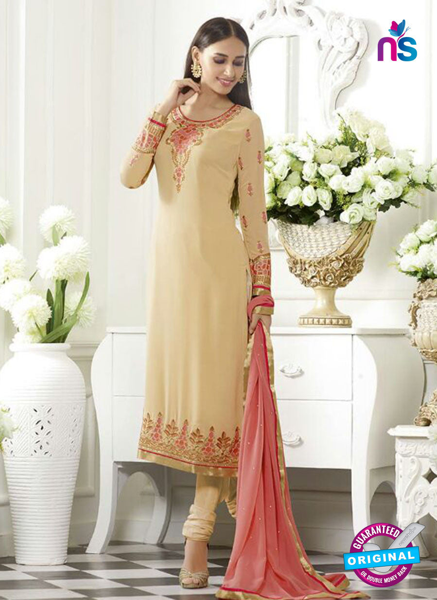 SC 13499 Beige Embroiderd Georgette Designer Long Suit