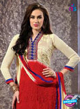 NS12072 Ivory and Red Straight Suit
