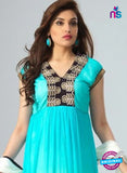 NS12073 Sky Blue and Ivory Chiffon Anarkali Suit
