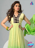 NS12075 Yellow and Green Chiffon Anarkali Suit
