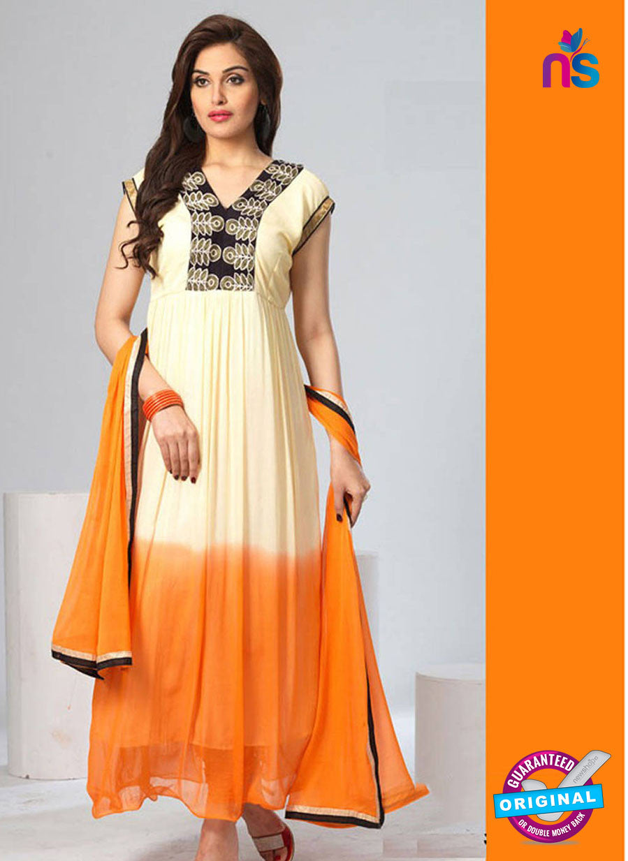 NS12076 Ivory and Orange Chiffon Anarkali Suit