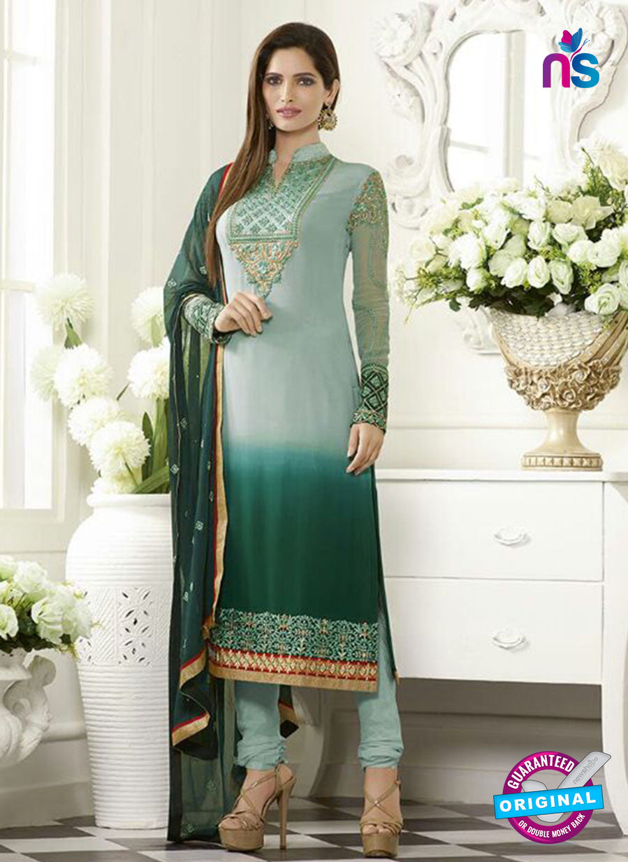 SC 13501 Green Embroiderd Georgette Designer Long Suit