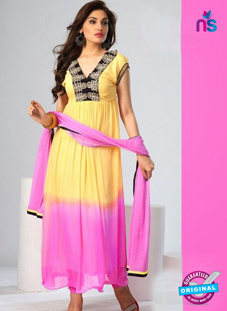 NS12079 Yellow and Pink Chiffon Anarkali Suit