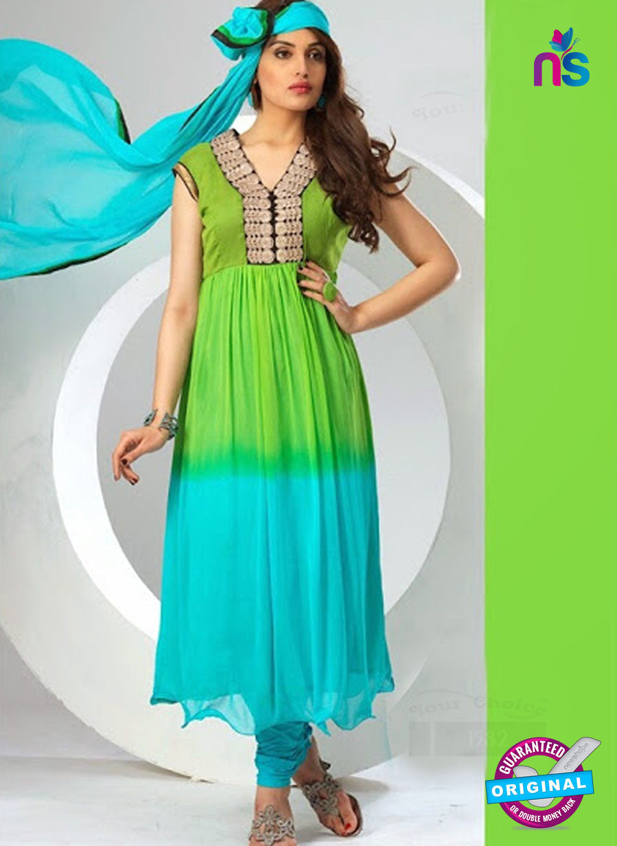 NS12080 Green and Sea Blue Chiffon Anarkali Suit