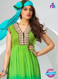 NS12080 Green and Sky Blue Chiffon Anarkali Suit