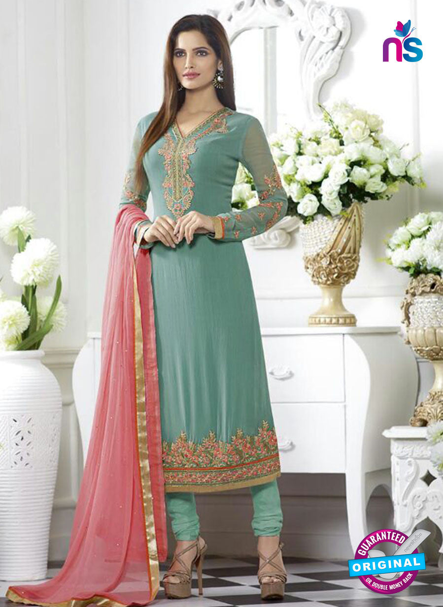 SC 13503 Sea Green Embroiderd Georgette Designer Long Suit