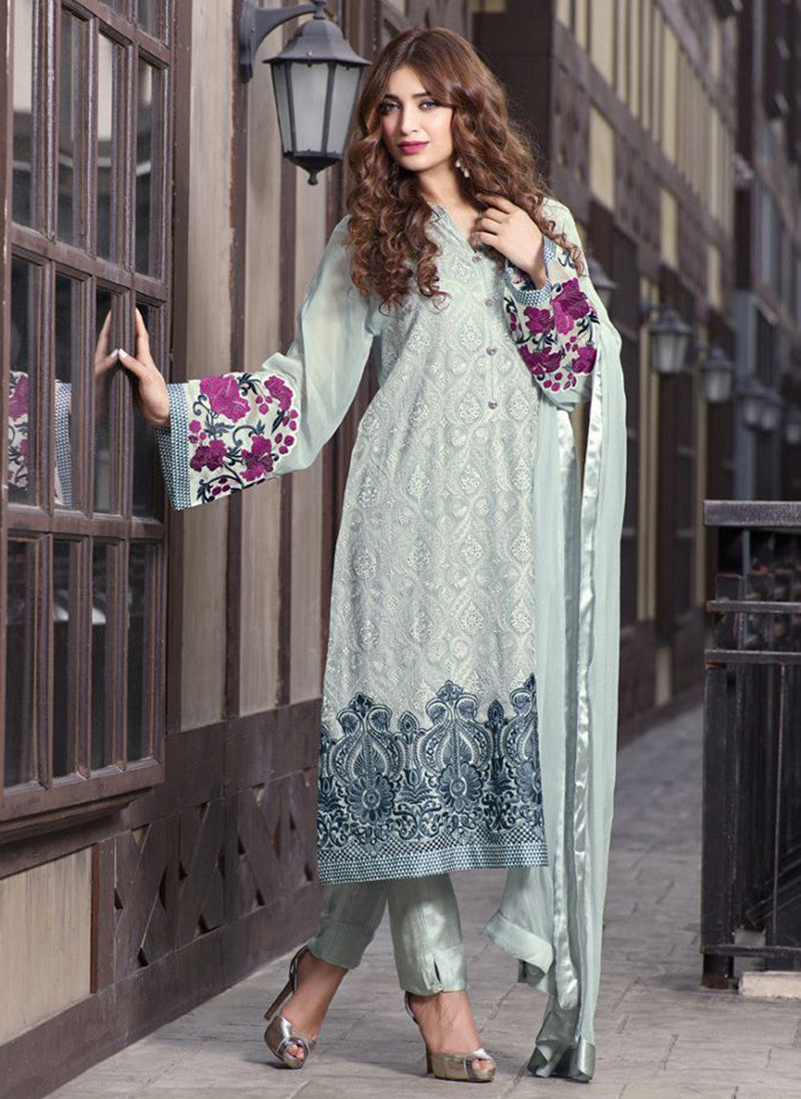 TM 16  Blue Color Georgette Designer Suit