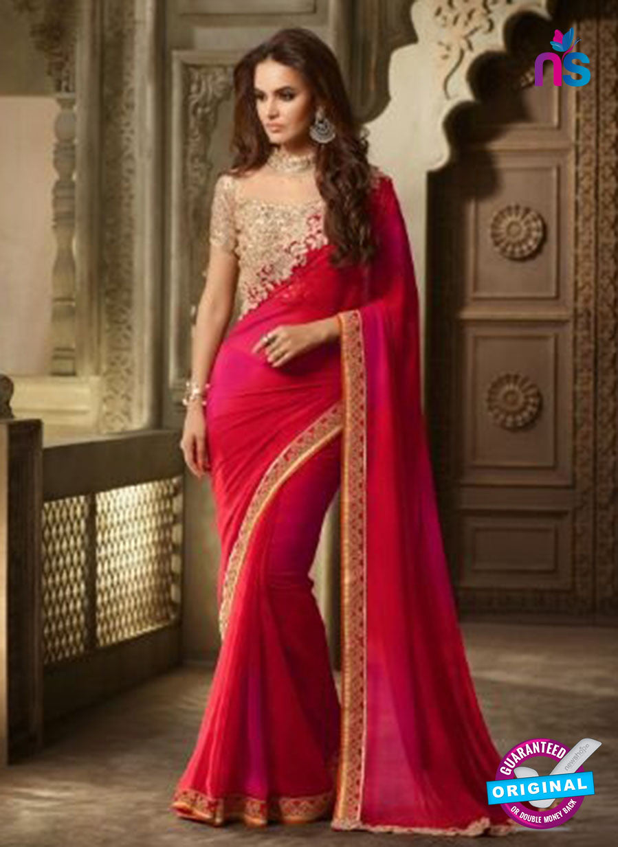 AZ 2100 Pink and Red Georgette Fancy Party Wear Saree