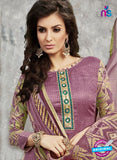 SC 14027 Purple and Beige Cotton Satin Latest Straight Plazo Suit