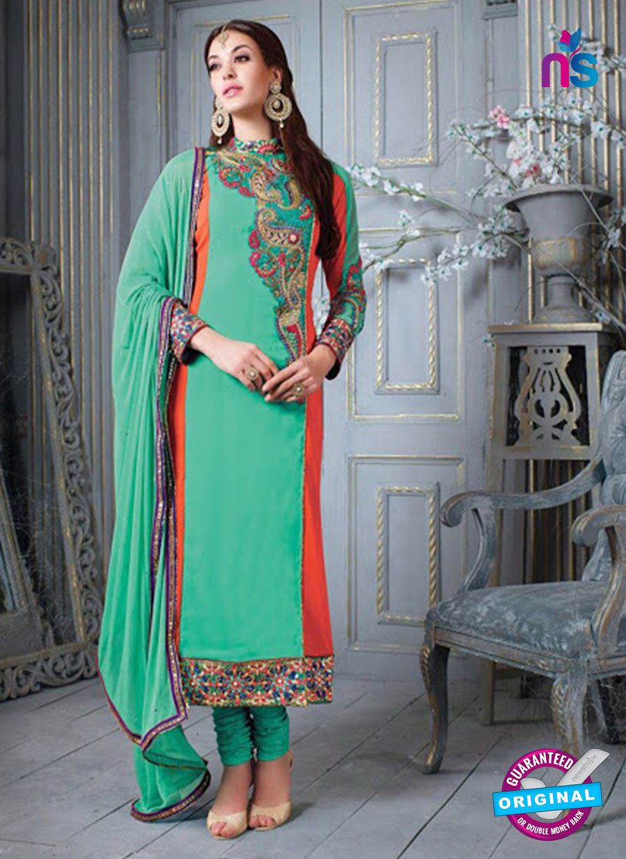 NS 12305 Sea Green and Orange Embroidered Georgette Designer Suit