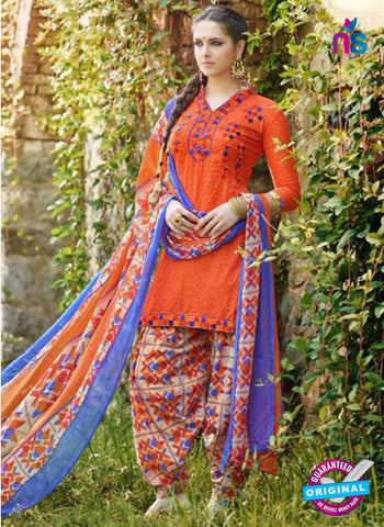 AZ 5252 Orange Cambric Cotton Casual Wear Patiala Salwar Suit