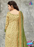SC 14035 Green and Beige Cotton Satin Latest Straight Plazo Suit