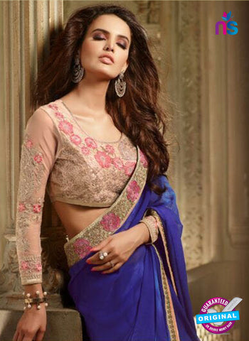AZ 2101 Blue Georgette Fancy Party Wear Saree - Sarees - NEW SHOP