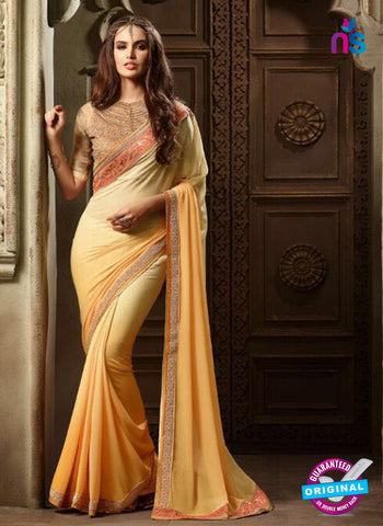 AZ 2102 Yellow and Cream Georgette Fancy Party Wear Saree