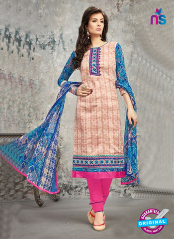 SC 14031 Beige and Pink Cotton Satin Latest Straight Plazo Suit