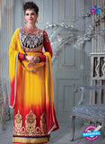 NS 12306 Yellow and Red Embroidered Net Designer Suit