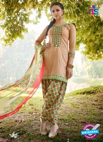 AZ 5253 Beige Cambric Cotton Casual Wear Patiala Salwar Suit