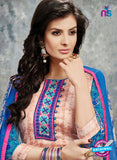 SC 14031 Beige and Pink Cotton Satin Latest Straight Plazo Suit Online