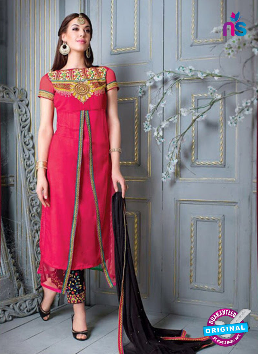 NS 12303 Pink and Black Embroidered Georgette Wedding Wear Designer Suit