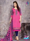 SC 14028 Pink and Blue Cotton Satin Latest Straight Plazo Suit