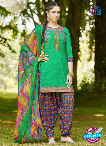 AZ 5254 Green Cambric Cotton Casual Wear Patiala Salwar Suit