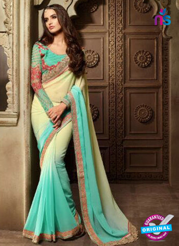 AZ 2103 Sea Green and Cream Georgette Fancy Party Wear Saree