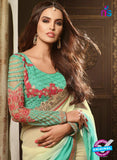 AZ 2103 Sea Green and Cream Georgette Fancy Party Wear Saree - Sarees - NEW SHOP