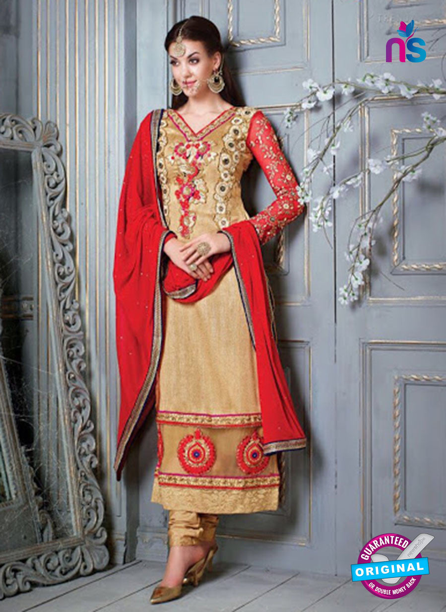 NS 12304 Brown and Red Embroidered Pure Bhagalpuri Designer Suit