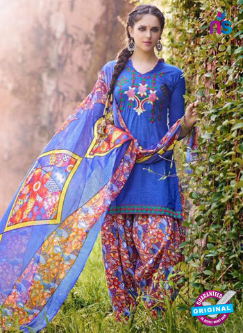 AZ 5255 Blue Cambric Cotton Casual Wear Patiala Salwar Suit