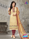 SC 14025 Beige and Brown Cotton Satin Latest Straight Plazo Suit
