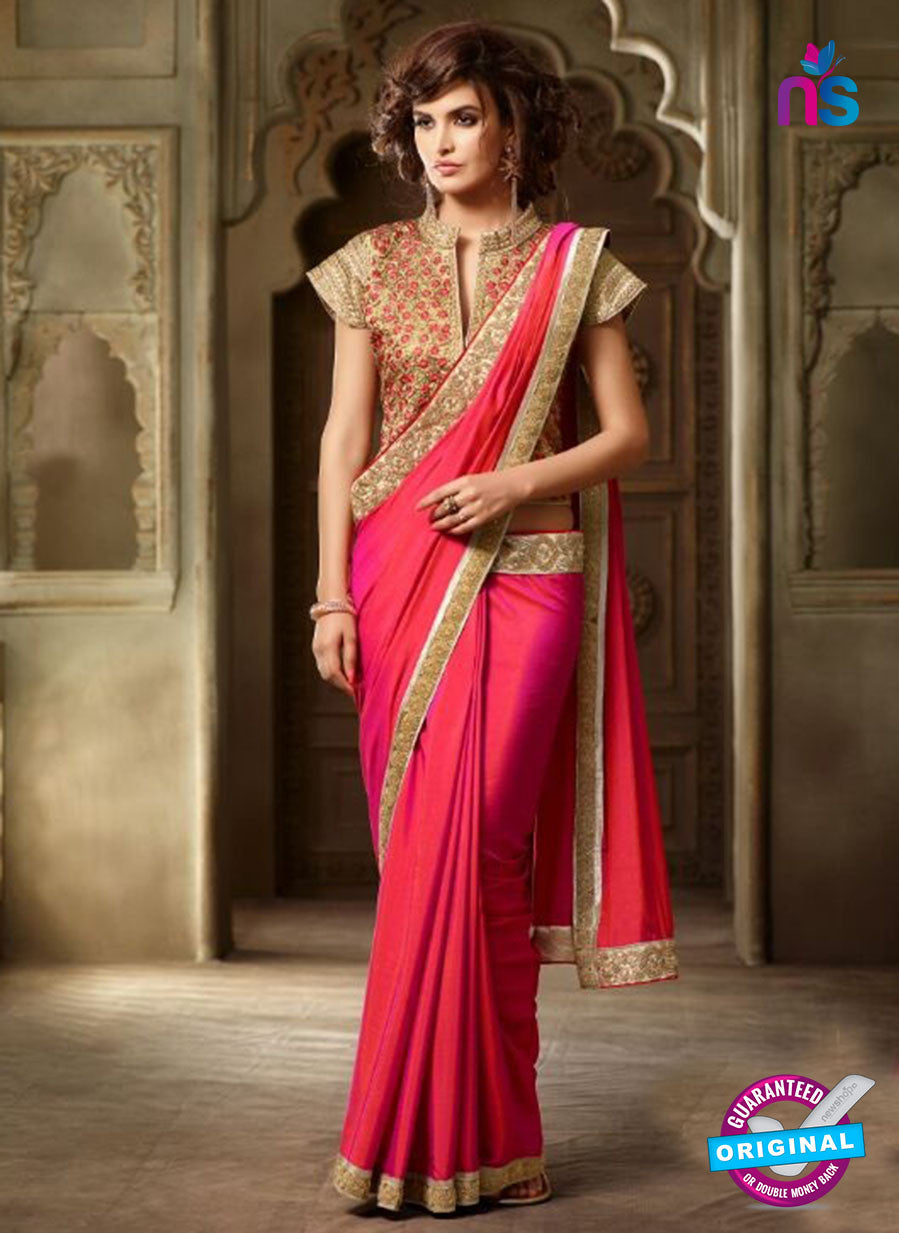AZ 2105 Pink Silk Fancy Party Wear Saree