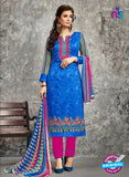 SC 14029 Blue and Pink Cotton Satin Latest Straight Plazo Suit