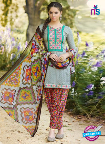 AZ 5256 Grey Cambric Cotton Casual Wear Patiala Salwar Suit