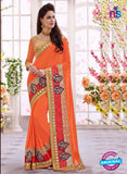 SC 13670 Orange Exclusive Designer Fancy Ethnic Wedding Wear Saree
