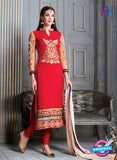 NS 12307 Red and Beige Embroidered Georgette Designer Suit