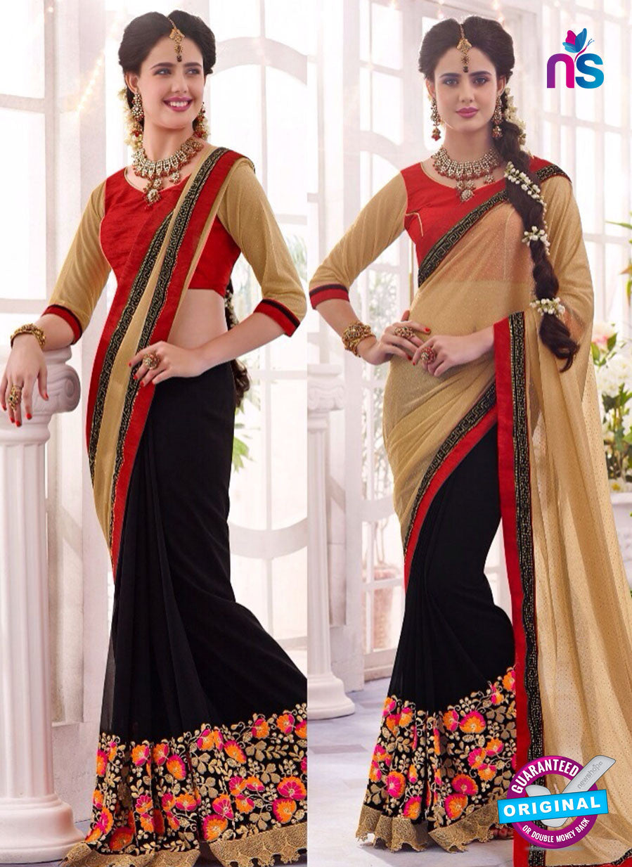 SC 13668 Black and Brown Exclusive Designer Fancy Ethnic Wedding Wear Saree