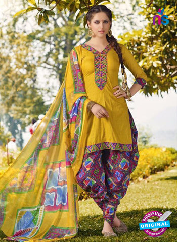 AZ 5257 Yellow Cambric Cotton Casual Wear Patiala Salwar Suit