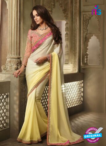 AZ 2106 White And Yellow Georgette Fancy Party Wear Saree