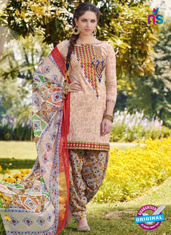 AZ 5258 Beige Cambric Cotton Casual Wear Patiala Salwar Suit