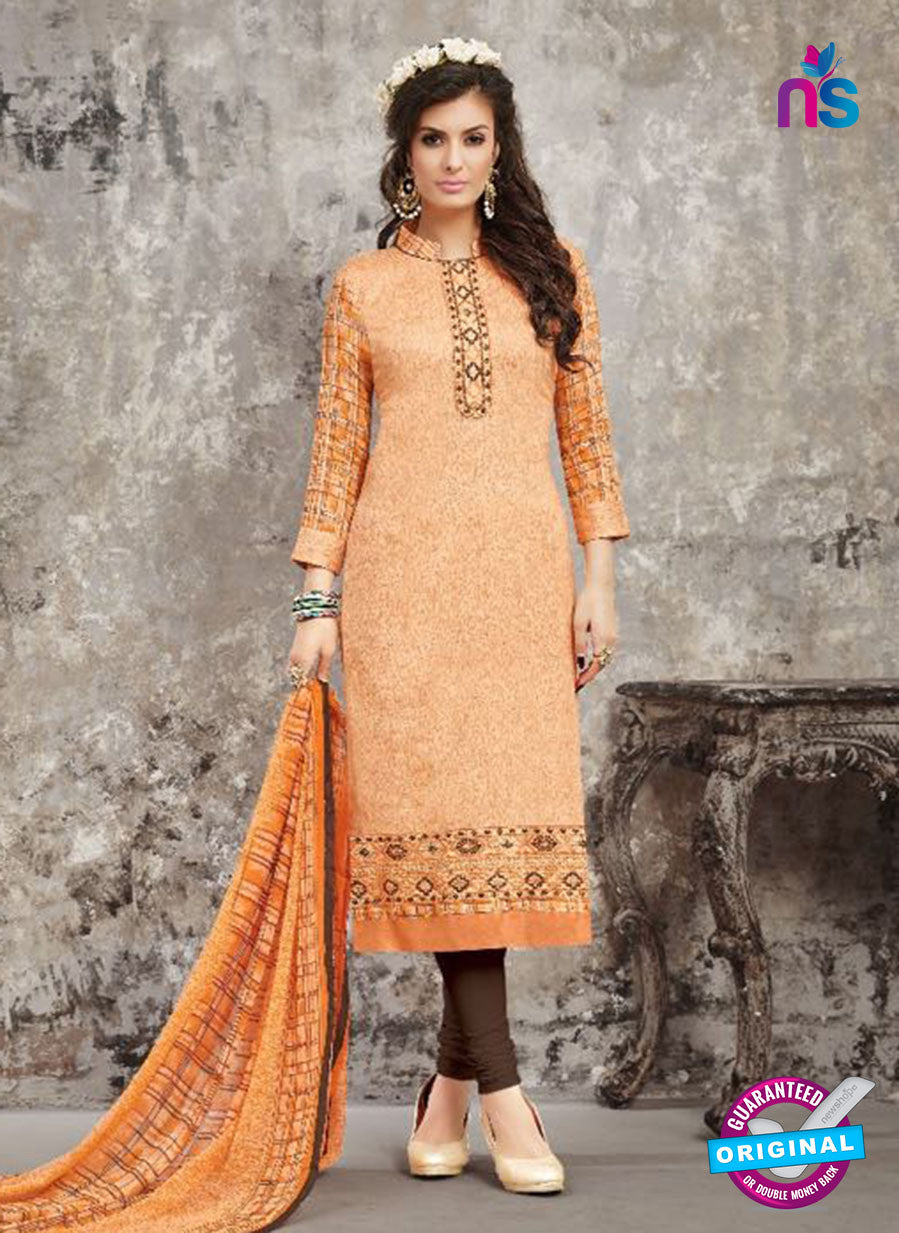 SC 14026 Orange Latest Cotton Satin Straight Plazo Suit